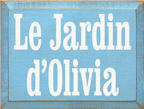 9x12 Light Blue Board with Cottage White Lettering Horizontal Le Jardin D'Olivia