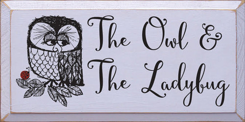 "CUSTOM WOOD PAINTED SIGN 18"" x 9"" Lavender board with Black Text and Red Ladybug The Owl and the Ladybug"
