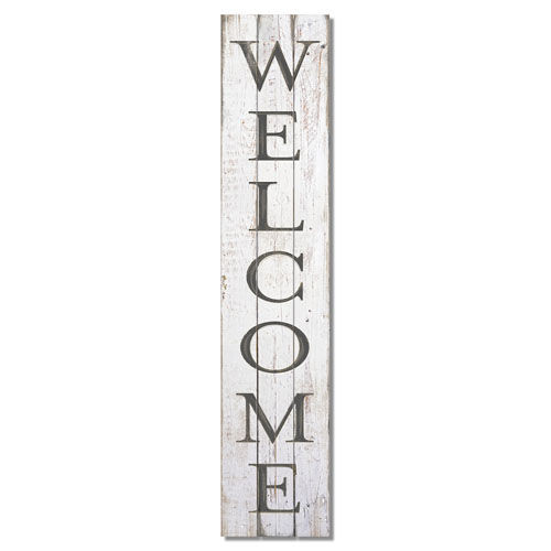 "Welcome Vertical Wood Pallet Sign   Shabby Chic White With Black Lettering  36"" w x 7.5"" h x .75"" d"