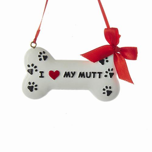 I Love My Mutt Dog Bone Ornament