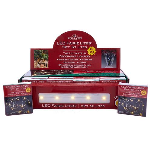 50-Light Battery-Operated Warm White LED Fairy Light Set