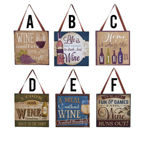 Funny Wine Plaques Humor For Wine Lovers Signs 4x4 With Ribbon Hanger