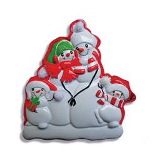 Snowman Family Of 4 Personalized Ornament