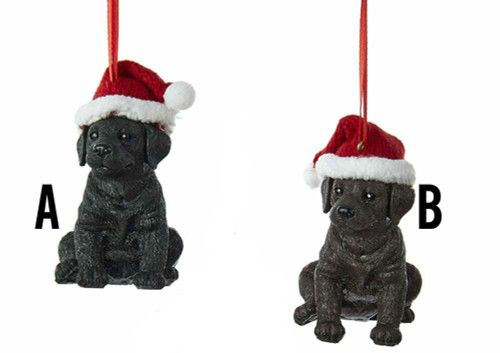 Labrador Retriever Dogs With Christmas Hat Ornament - Black Lab or Chocolate Lab
