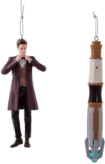 11th Doctor Who and Sonic Screwdriver Ornament Set