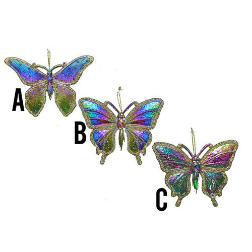 Rainbow Butterfly With Glitter Ornament