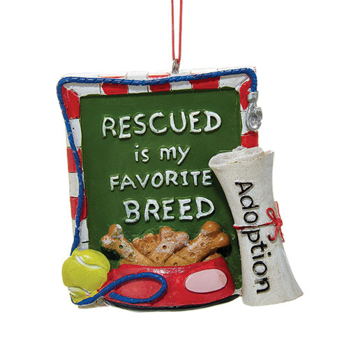 Rescued Is My Favorite Breed Dog Sign Hanging Ornament