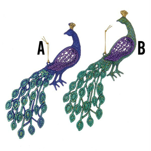 Ornament Glittery Peacock Ornaments 2 Assorted 4.5 inch