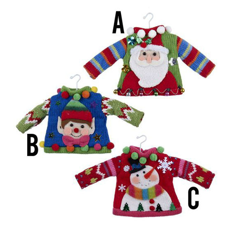 Ugly Sweater Knitted Ornaments Set Of Three - Santa - Snowman - Elf