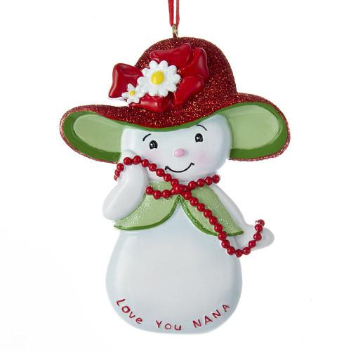 Snowwoman Love You Nana Personalized Ornament