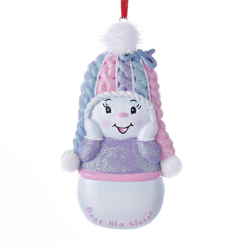 Snowgirl Best Big Sister Personalized Ornament