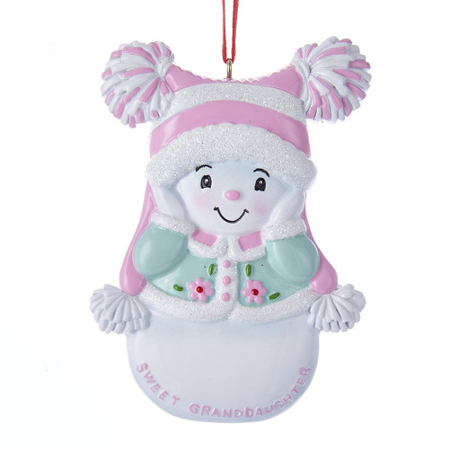 Personalized Ornament Snowgirl Sweet Granddaughter  3.75 inch