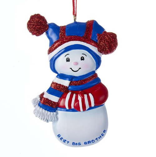 Snowman Best Big Brother Personalized Ornament