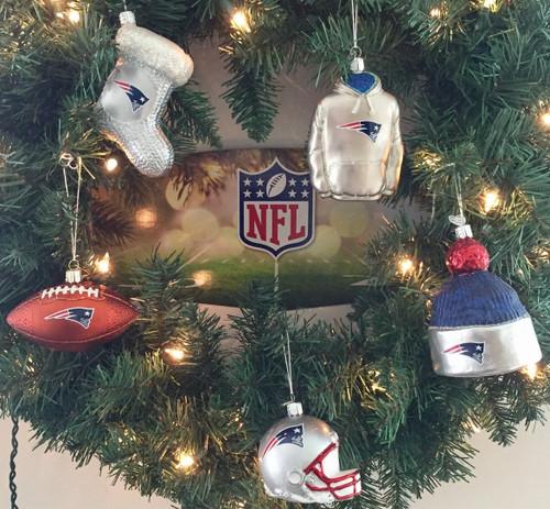 New England Patriots Glass Ornaments 5 Piece  Bundle