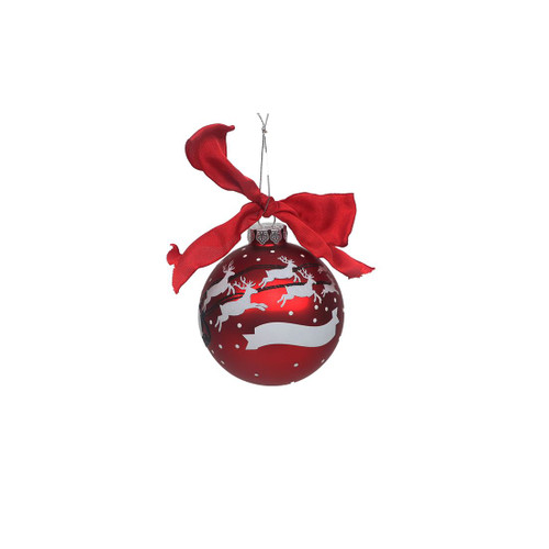 Santa Sleigh Personalized Round Glass Ornament WIth Hanging Ribbon