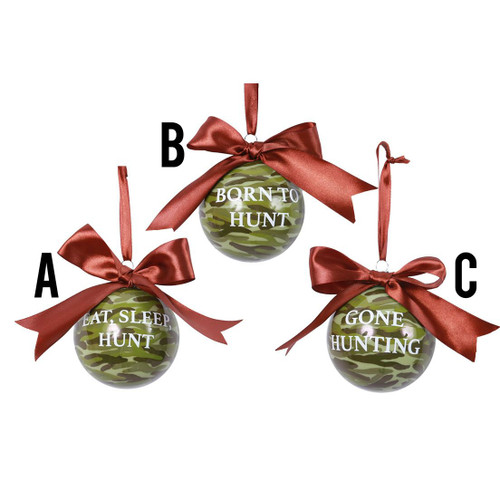 Glass Hunting Sayings Ornaments Assorted