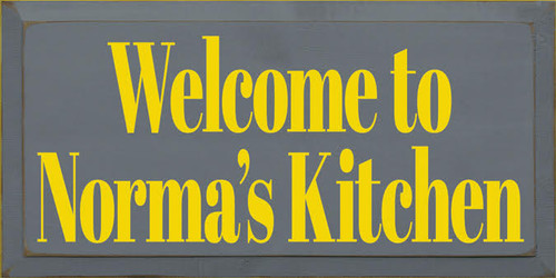 9x18 Slate board with Yellow text Wooden Sign  Welcome to Norma's Kitchen  CUSTOM wood painted sign