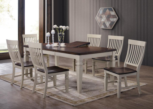 "Dining Table 40"" x 60"" with Butterfly Self Storing 18"" leaf with 4 Slatback Chairs  Opens to 40"" x 78"""