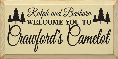9x18 Cream  board with Black text Wooden Sign  CUSTOM Welcome to Crawford's Camelot  9x18 Wood Sign
