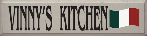 CUSTOM WOOD SIGN 9x36 Putty Board  with Black Text    Red White & Green Flag Vinnie's Kitchen with Italian Flag