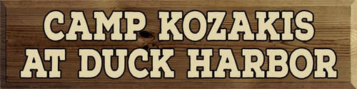 9x36 Walnut Stain Board with Cream Text and Black Outline  CAMP KOZAKIS AT DUCK HARBOR