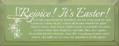 Rejoice! It's Easter! Let Not Your Heart Be Troubled... Wooden Sign