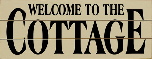 Wood Slat Sign Welcome To The Cottage 18 x 7 For Lake House White