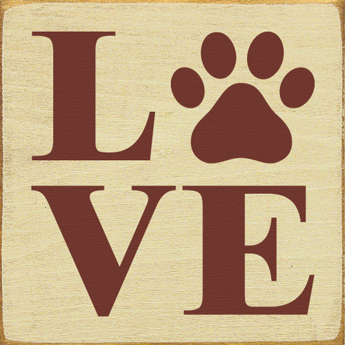 Love (Paw Print) Wooden Sign