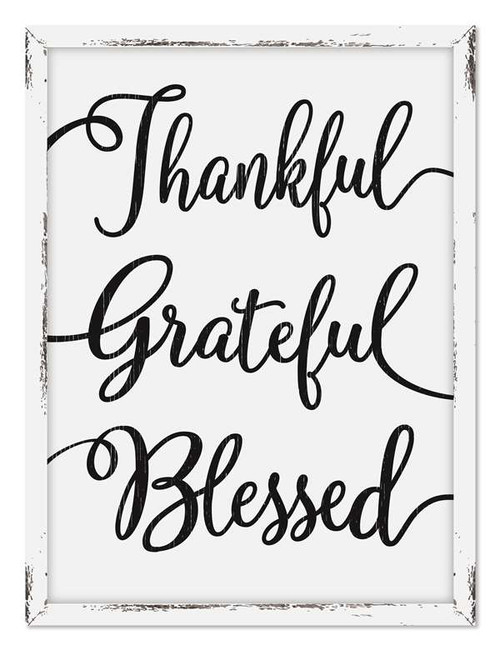 Thankful Grateful Blessed - 18 x 24 Farmhouse White Framed Print