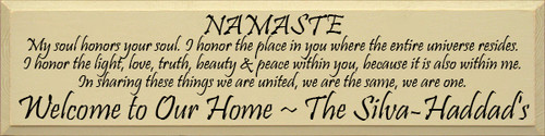 Custom Wood Painted Sign CUSTOM Namaste- 36x9 Wood Sign