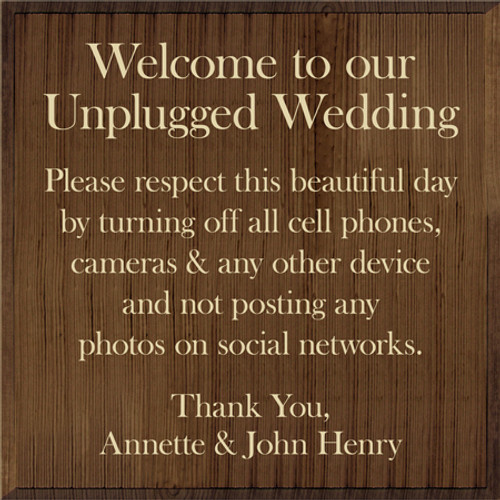 Custom Wood Painted Sign CUSTOM Unplugged Wedding 24x24 Wood Sign