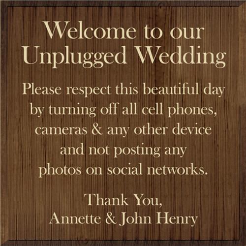 Custom Wood Painted Sign CUSTOM Unplugged Wedding 24x24 Wood Sign