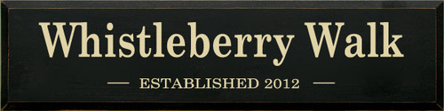 The (your Family Name) Established (date) Custom Wood Sign 9x36 Black with Cream Text