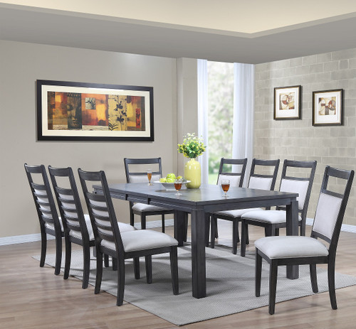 "Steel Gray Wood Dining Set Newport Collection 42""W x 64""L Table with Self Storing 18"" Butterfly leaf Table opens to 42""W x 82""L - comfortable seating for 6-8"
