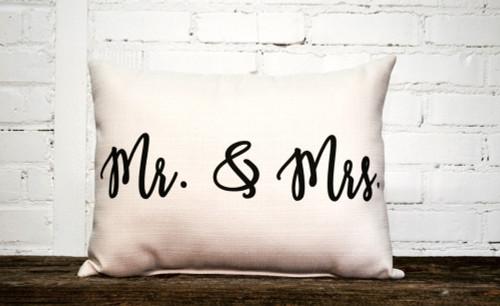 """Mr & Mrs Pillow 20""""W x 12""""H"""