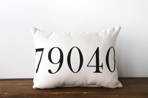 Custom Zip Code Pillow 20in.W x 12in.H