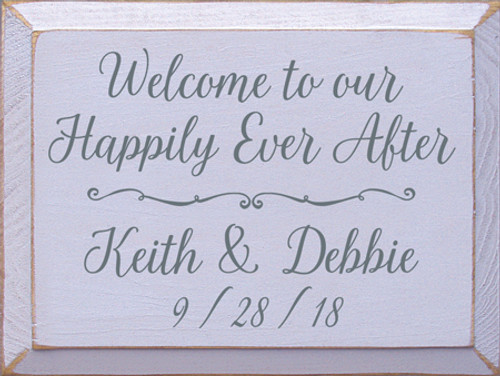 9x12 Lavender board with Slate text Wood Sign  Welcome to our Happily Ever After  Keith & Debbie   9/28/18