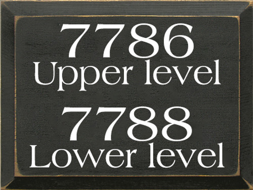 9x12 Charcoal board with White text  7786 Upper Level  7788 Lower Level