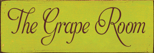3.5x10 Lemon-lime board with Burgundy text Wood Sign  The Grape Room