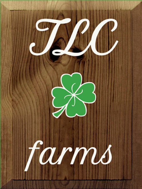 9x12 Walnut Stain with White and Kelly text Wood Sign  TLC Farms