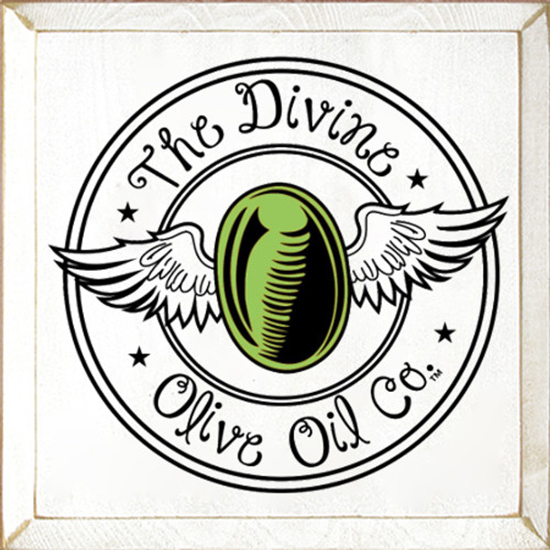 12x12 White board with Apple Green and Black text  The Divine Olive Oil Co. Logo
