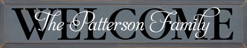 7x36 Slate board with Black & White Lettering Wood Sign  The Patterson Family