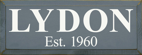 "18""W x 7""H Slate Board with Cottage White text Custom name and established year or date Wood Sign"