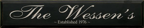 7x36 Black board with Putty text Wood Sign The [CUSTOM NAME]'s Established [CUSTOM DATE]