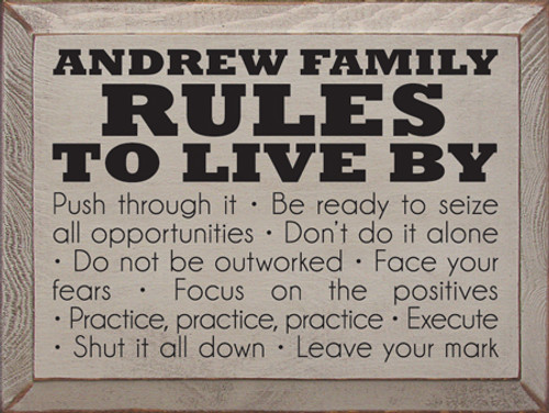 CUSTOM Andrew Family  Rules 9in. x 12in. Wood Painted Sign