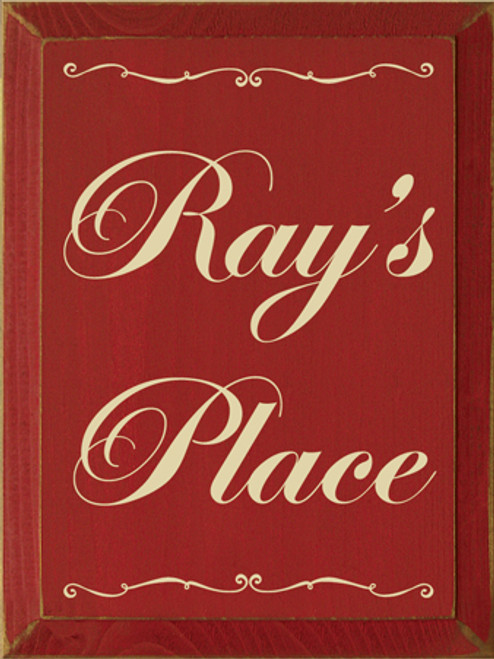 9x12 Red board with Cream text Wood Sign Ray's Place