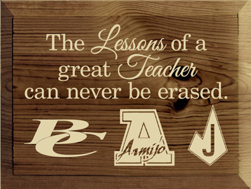 9x12 Walnut Stain with Cream text Wood Sign The lessons of a great teacher can never be erased