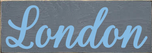 3.5x10 Slate board with Light Blue text Wood Sign London