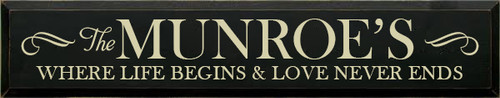 7x36 Black board with Cream text Wood Sign The Munroe's  Where life begins & love never ends