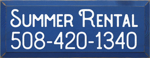 7x18 Royal board with White text Summer Rental